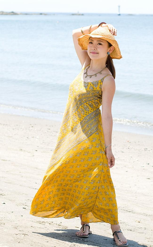 オールドサリーAラインサマードレス 2 - 腰周りは意外とゆったりしたデザインなので、とても着やすいです。