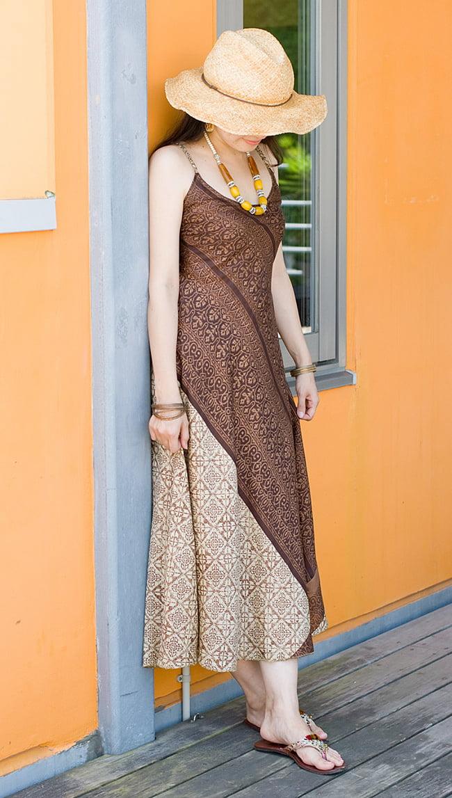 オールドサリーAラインサマードレス 9 - 身長165cmのスタッフ着用例です。 こちらは裏生地はついていません。
