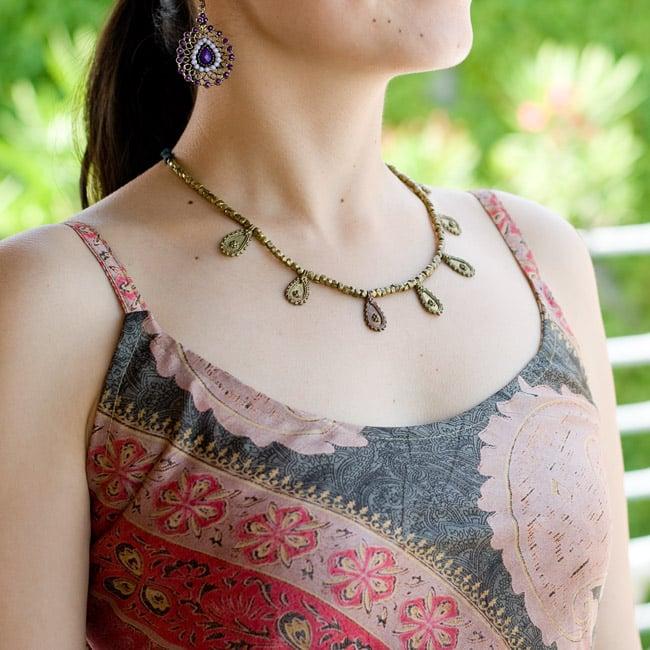 オールドサリーAラインサマードレス 【緑系】 6 - 胸元はこんな感じのシンプルなデザインです。