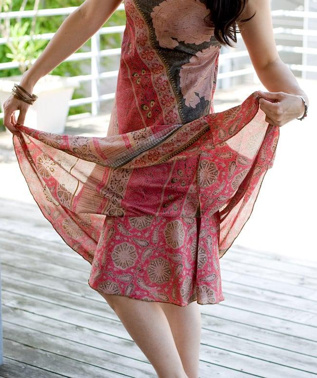 オールドサリーAラインサマードレス 【緑系】 8 - ロングタイプのみ、裏生地が付いているのでペチコートは不要です。
