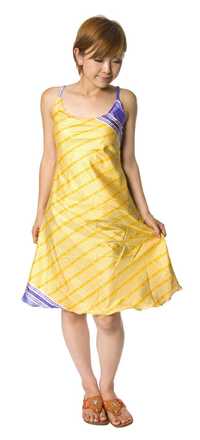 オールドサリーAラインサマードレス 【緑系】 9 - 身長150�のスタッフのショート丈着用例です。 こちらは裏生地はついていません。