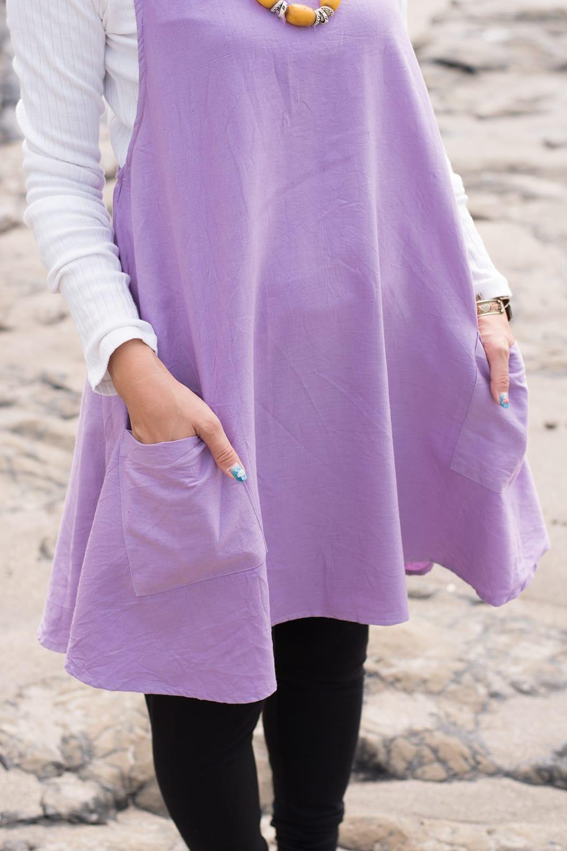 インド綿のシンプルコットンワンピース 3 - 両サイドにはポケットも付いていて便利です。