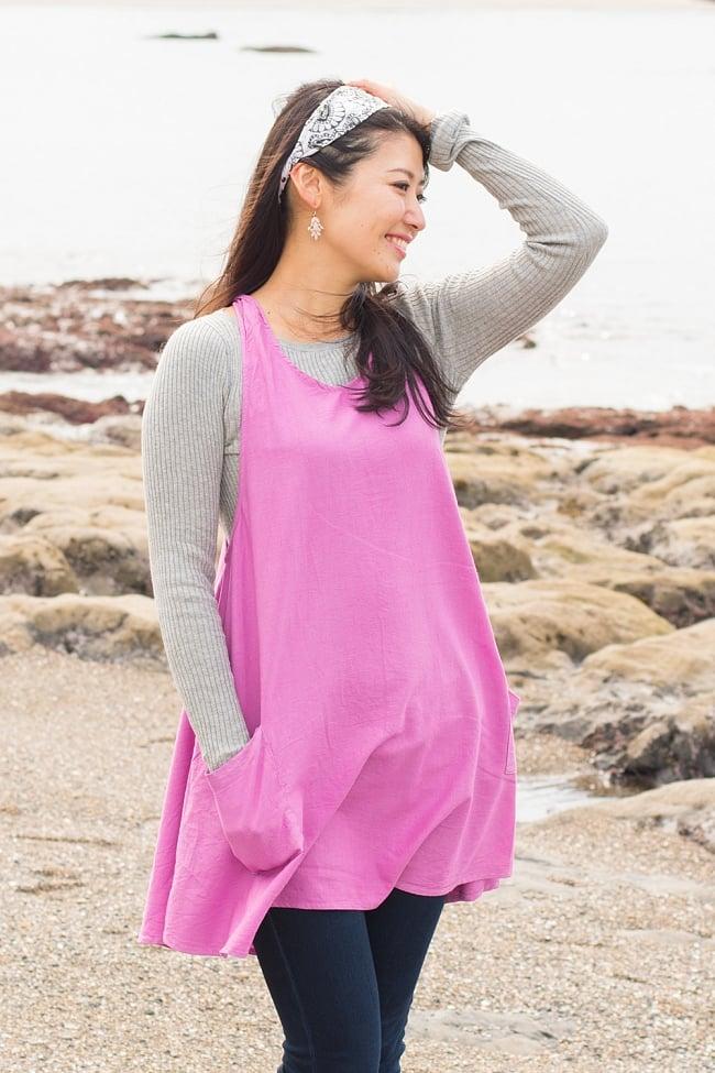 インド綿のシンプルコットンワンピース 7 - C:ピンク 身長165cmのモデルさんの着用例になります。