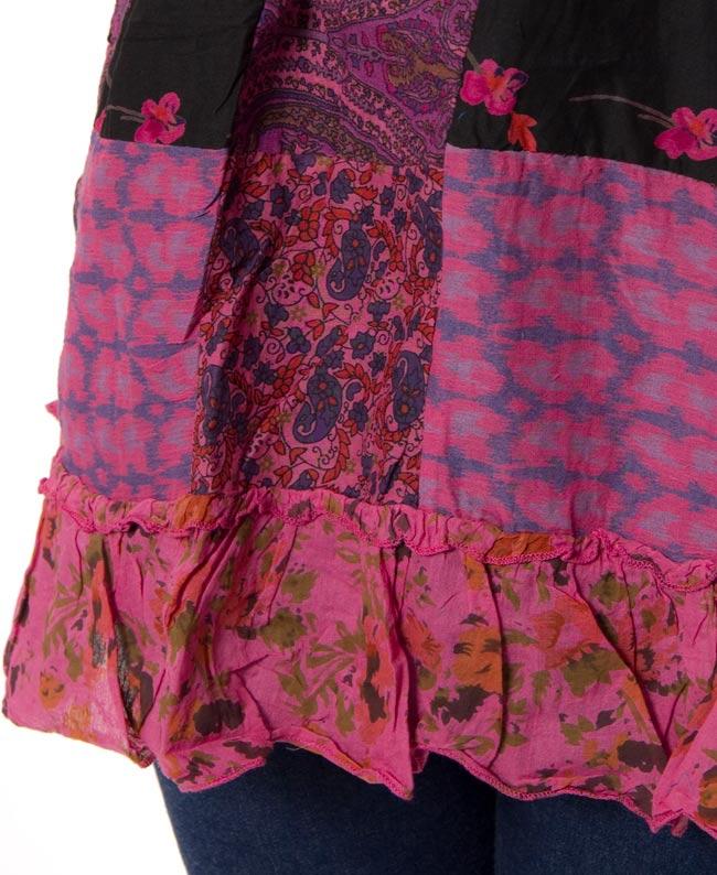 ノースリーブひらひらパッチワークチュニック 【ピンク系】 4 - 裾部分はひらひらしていてとってもキュートです!