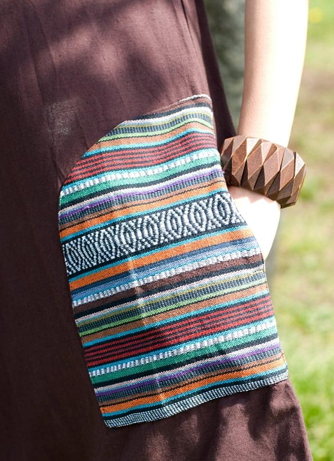 ネパール刺繍のAラインワンピース 6 - ポケットをアップにしてみました。