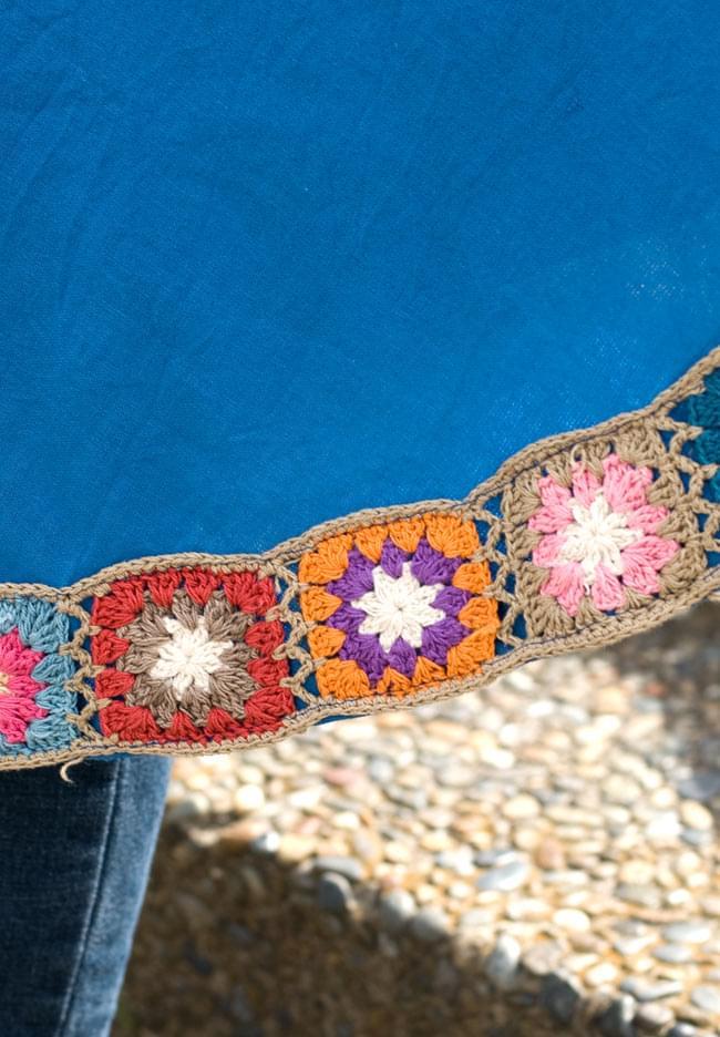 フラワー刺繍ポケットAラインワンピース - スカイブルー 6 - 裾の花がら刺繍をアップにしてみました。