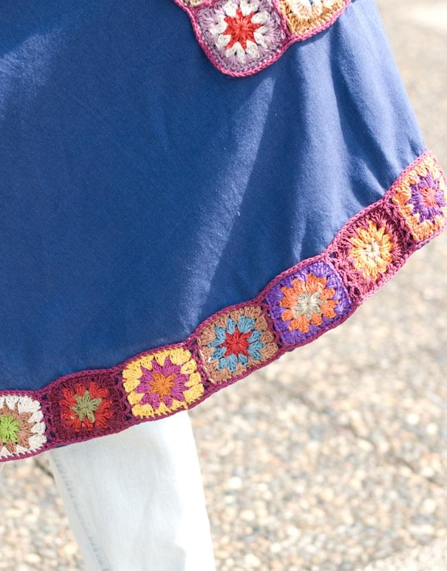 フラワー刺繍ポケットAラインワンピース - ブルー 5 - 裾部分です。