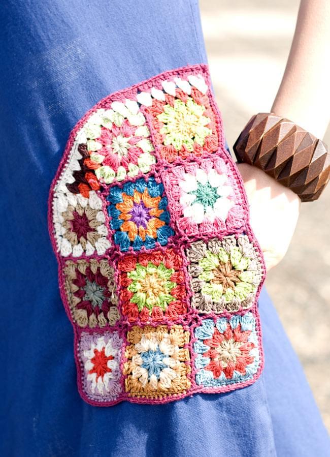 フラワー刺繍ポケットAラインワンピース - ブルー 6 - ポケットをアップにしてみました。お花のクロシェがたっぷり♪