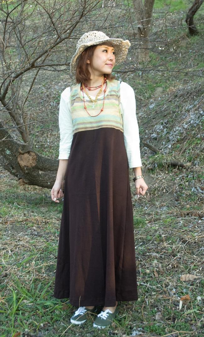 カラフルゲリのマキシワンピースの写真5 - E:茶×黄緑