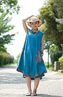 エスノ刺繍ポケットAラインワンピース - ライトブルー