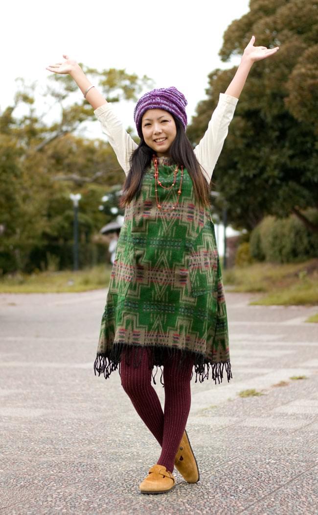 ダッカ織りのふわふわワンピースの写真2 - B:グリーン系