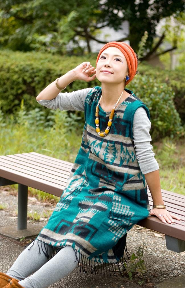 ダッカ織りのふわふわワンピースの写真5 - E:エメラルド