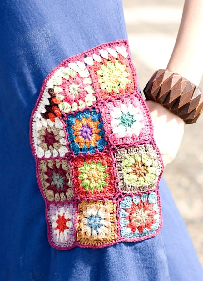 フラワー刺繍ポケットAラインワンピース - グレー 10 - ポケットもあるのでとても便利です。