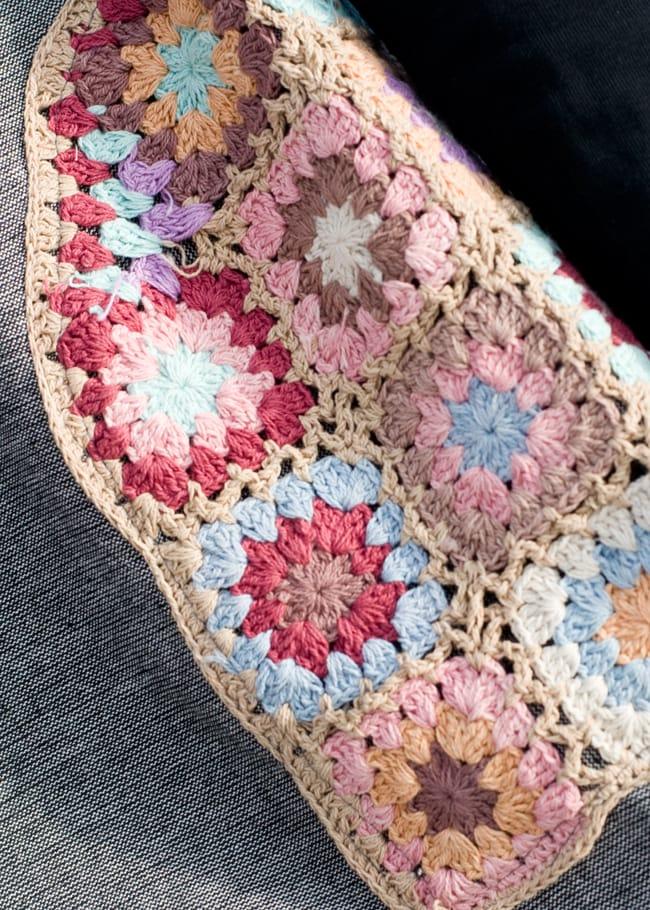 フラワー刺繍ポケットAラインワンピース - グレー 4 - ポケットをアップにしてみました。お花のクロシェがたっぷり♪
