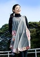 フラワー刺繍ポケットAラインワンピース - グレー