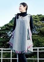 エスノ刺繍ポケットAラインワンピース - グレー