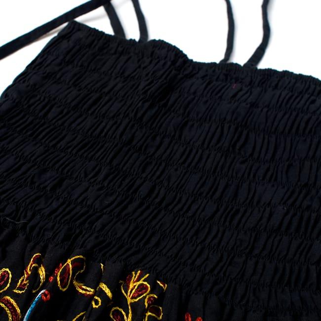 【1点物】カッチ地方のトライバル刺繍 2WAYスカート - ブラック 4 - ゴムがしっかりしているので、落ちてくる心配もありません。