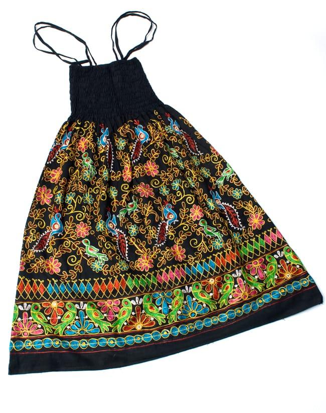 【1点物】カッチ地方のトライバル刺繍 2WAYスカート - ブラックの写真