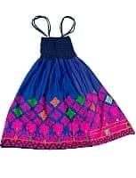 【1点物】カッチ地方のトライバル刺繍 2WAYスカート - ブルー