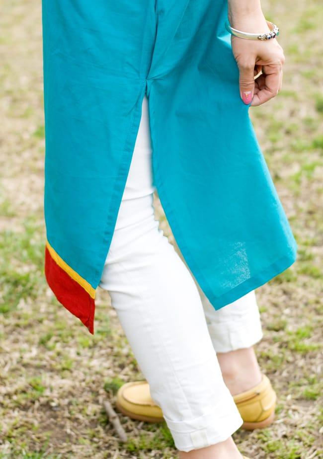 フラワー刺繍のカラークルティ 5 - サイドにはしっかりとスリットが入っています。