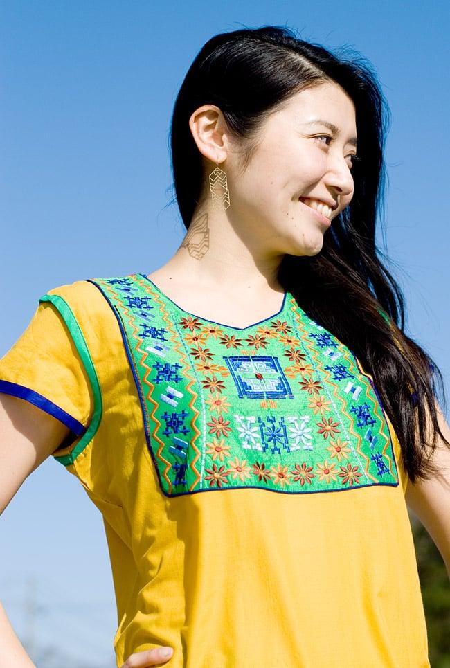 スクエア刺繍のカラフルクルティ 5 - E:イエロー