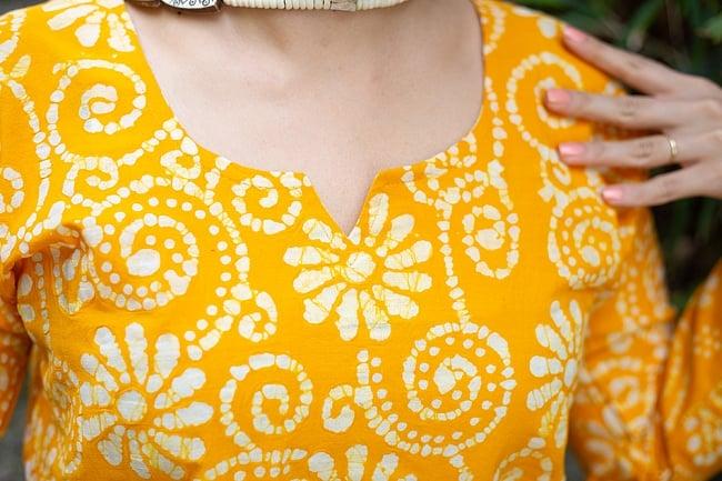 花とつる草のカラークルティ 6 - 胸元の様子です。
