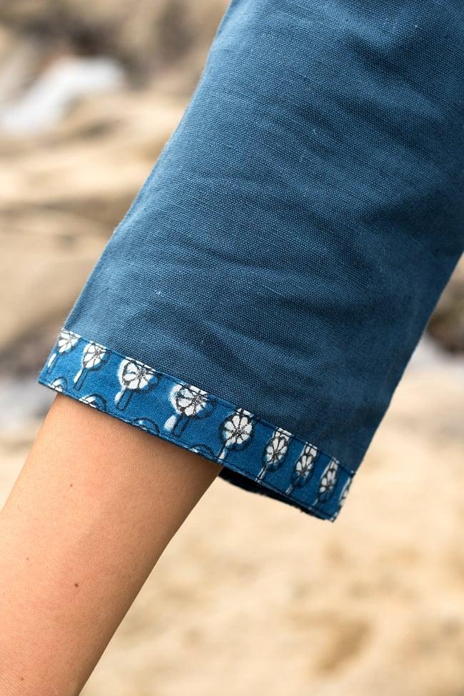 ナチュラルコットンとウッドブロックのクルティ 11 - 袖口にもウッドブロック布が用いられています。