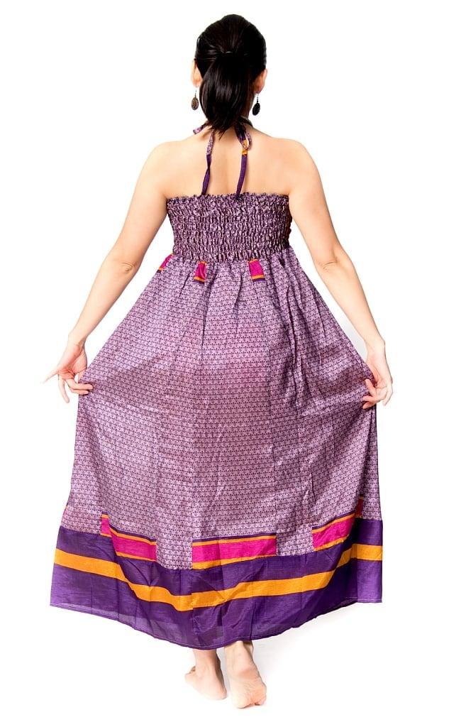 オールドサリーマキシワンピース - 紫・青系 2 - 後ろからの写真です