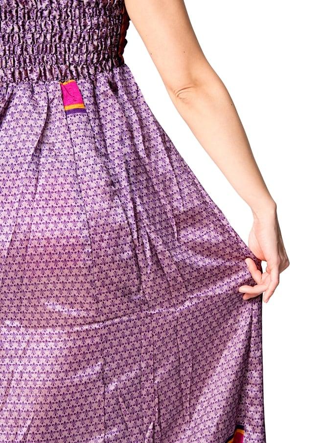 オールドサリーマキシワンピース - 紫・青系 3 - 独特の光沢感が素敵です