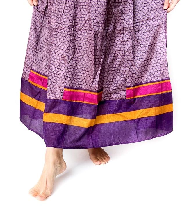 オールドサリーマキシワンピース - 紫・青系 4 - 足元の写真です