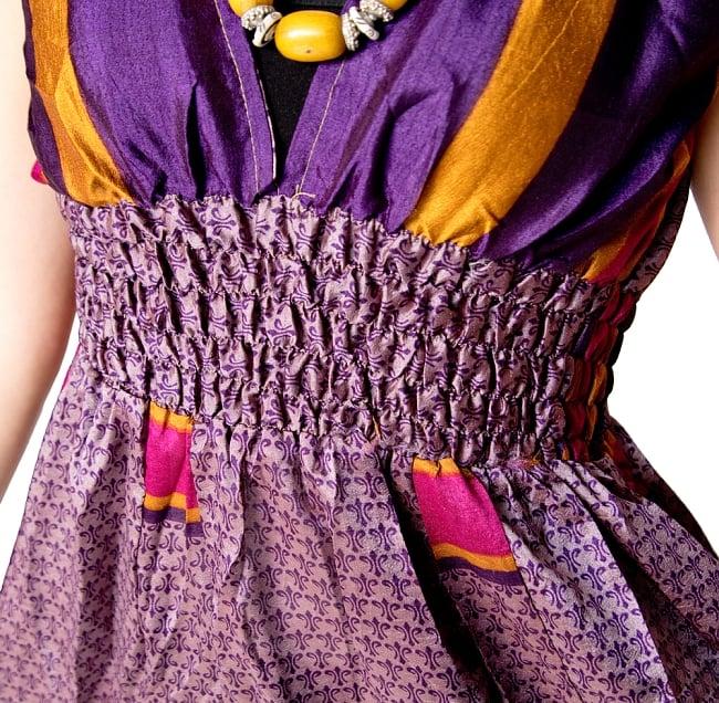 オールドサリーマキシワンピース - 紫・青系 6 - 綺麗なシルエットです。