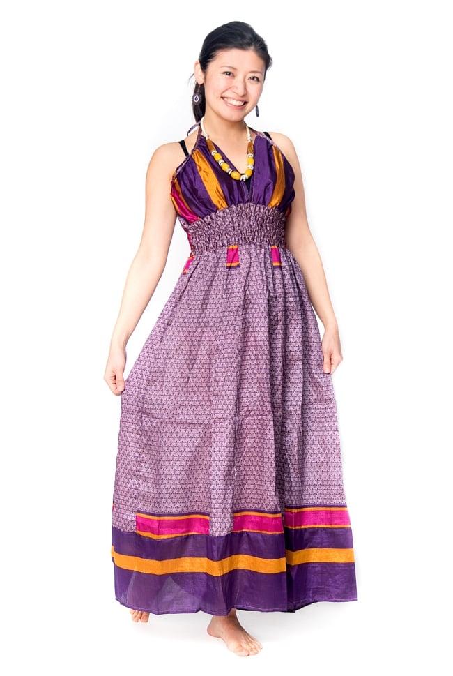 オールドサリーマキシワンピース - 紫・青系の写真