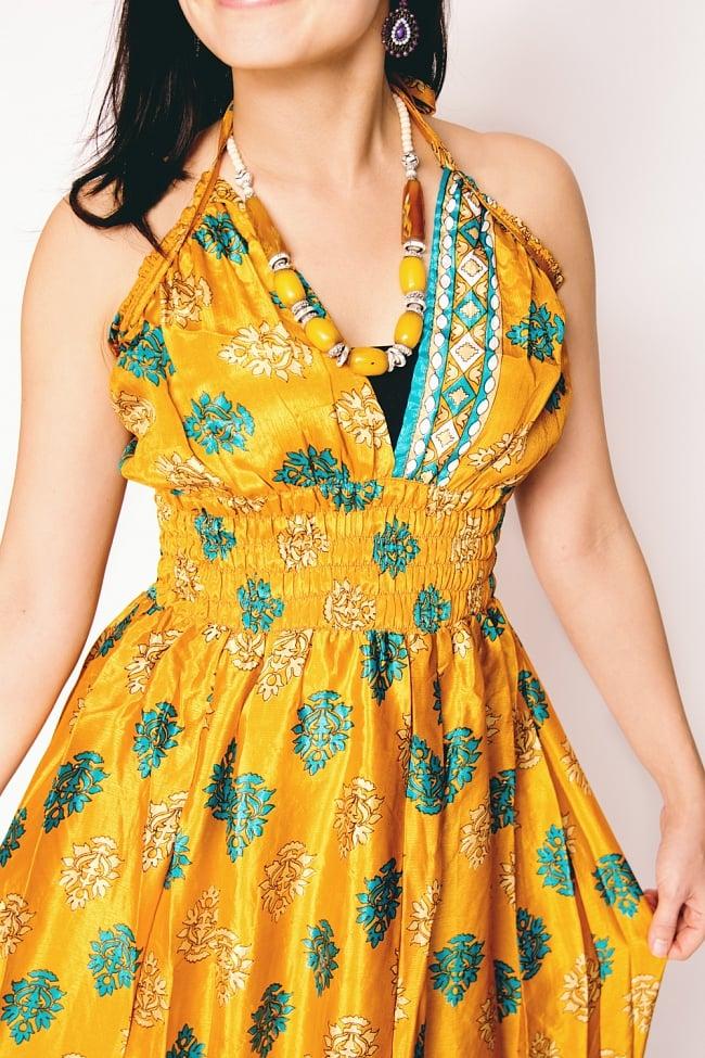 オールドサリーマキシワンピース - 黄色・オレンジ系 5 - 独特の光沢感が素敵です