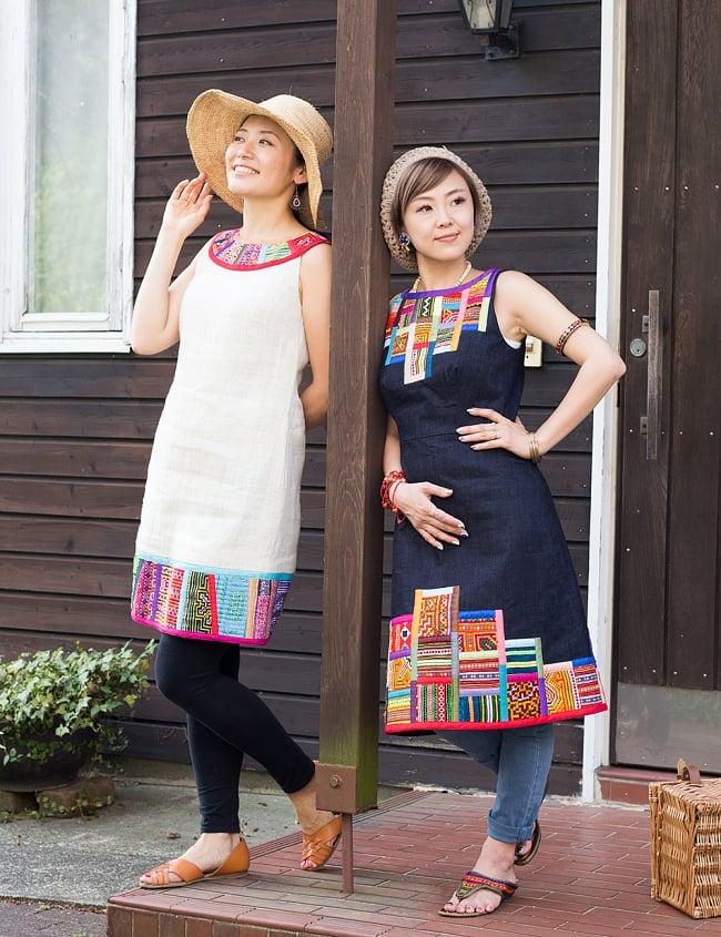 【1点もの・CHULA】モン族刺繍のワンピース デニム生地 7 - お出かけにもぴったり♪