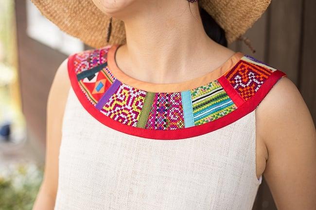 【1点もの・CHULA】モン族刺繍のワンピース ジュート生地の写真4 - 首周りの様子です。