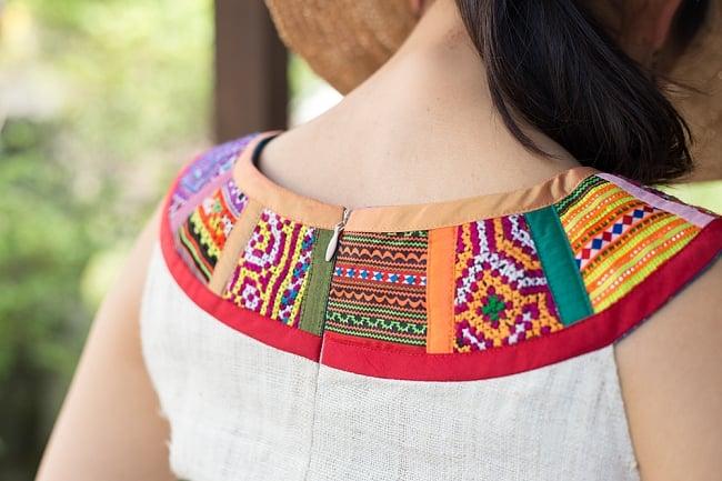 【1点もの・CHULA】モン族刺繍のワンピース ジュート生地の写真5 - 鮮やかなモン族刺繍が用いられています。