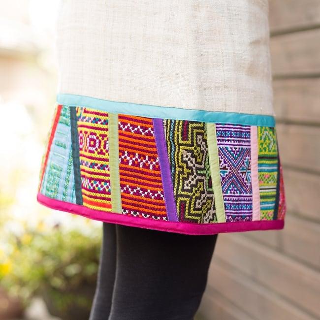 【1点もの・CHULA】モン族刺繍のワンピース ジュート生地の写真6 - 裾周りも可愛いですね。