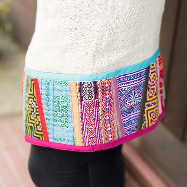 【1点もの・CHULA】モン族刺繍のワンピース ジュート生地の写真7 - 反対側を見てみました。