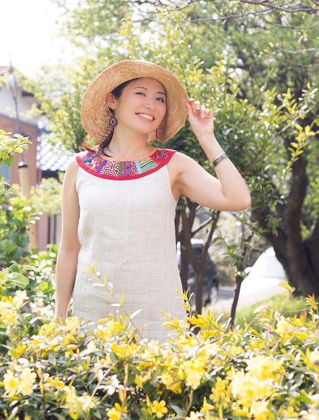 【1点もの・CHULA】モン族刺繍のワンピース ジュート生地の写真9 - 楽しいおでかけに♪
