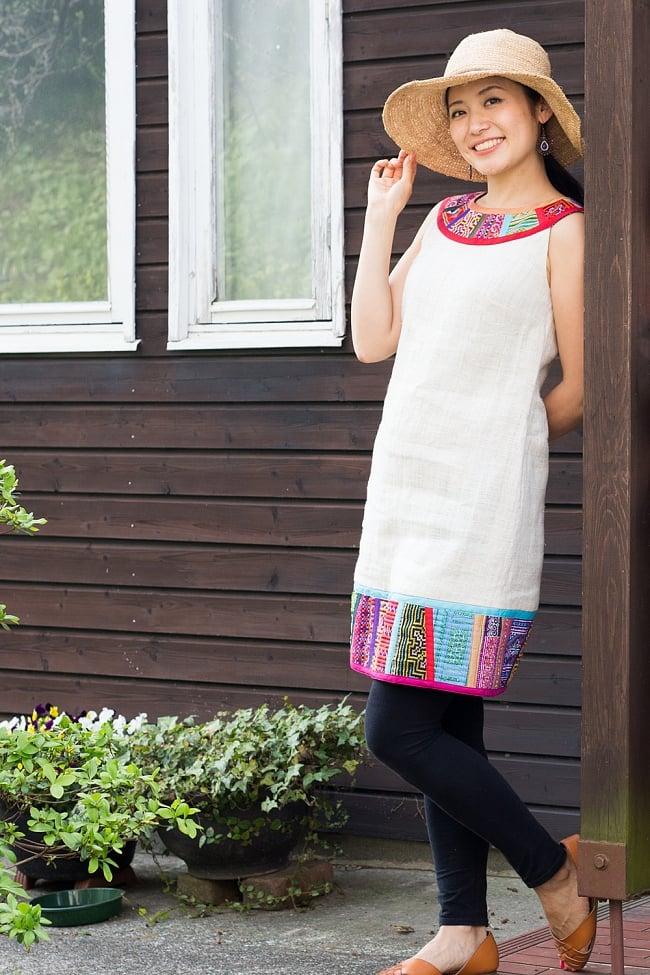 【1点もの・CHULA】モン族刺繍のワンピース ジュート生地の写真