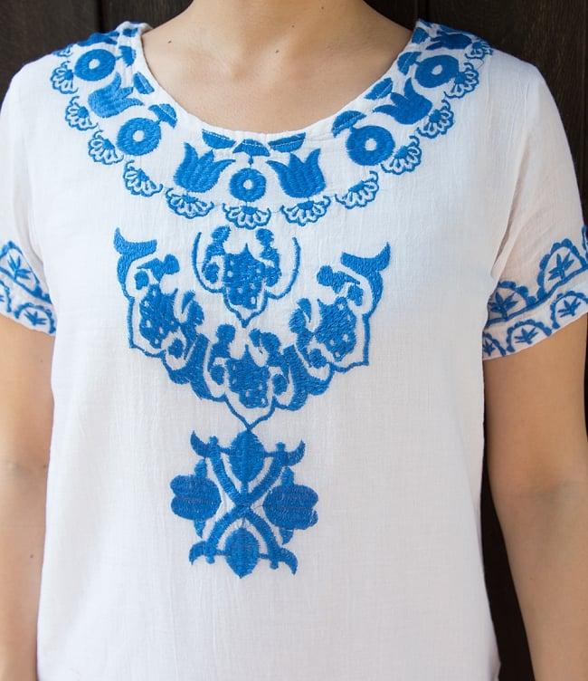 フラワー刺繍のサフェードクルティ 6 - 胸元を見てみました。