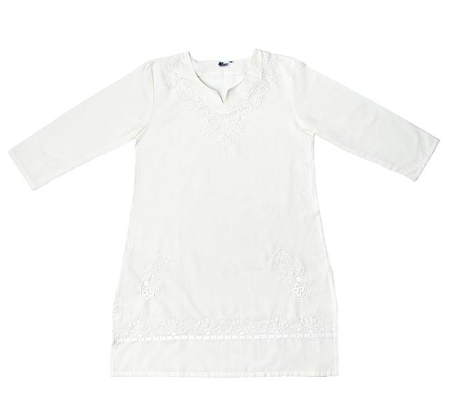 サフェード刺繍 シンプルホワイトクルティ 9 - 平置きしたところです
