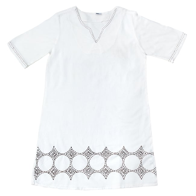 シンプルホワイトクルティ 白い生地に映える色付き刺繍 14 - A:刺繍の色 ブラウンはこちら