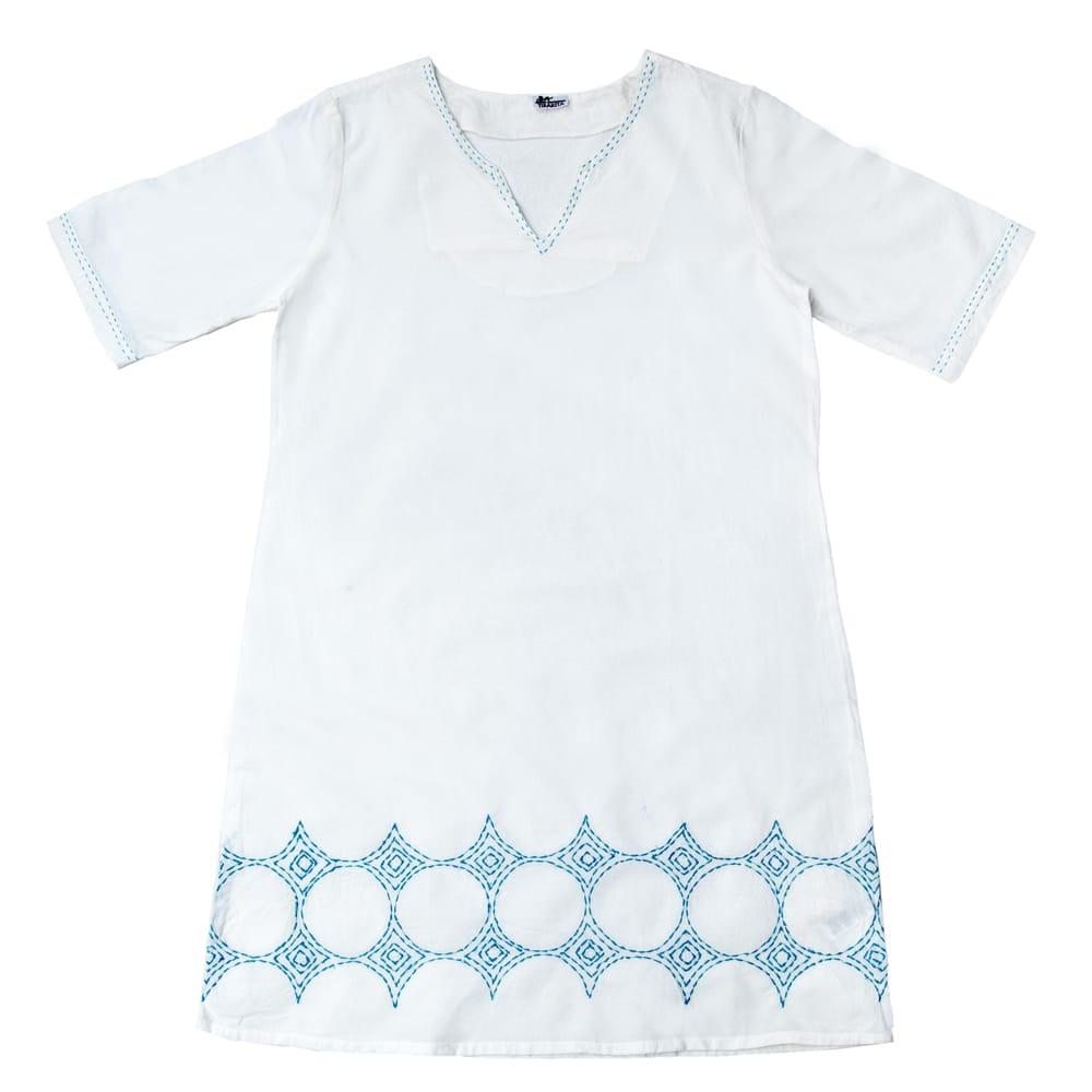 シンプルホワイトクルティ 白い生地に映える色付き刺繍 16 - B:刺繍の色 ブルーはこちら