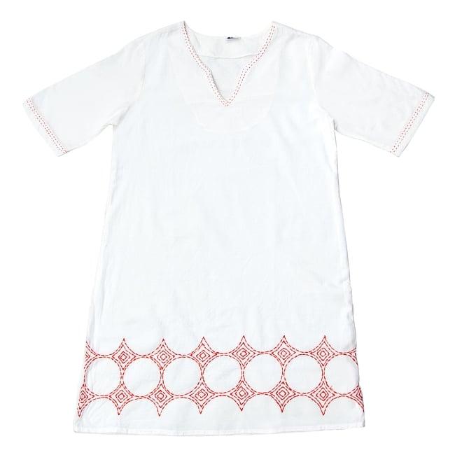 シンプルホワイトクルティ 白い生地に映える色付き刺繍 18 - C:刺繍の色 オレンジはこちら