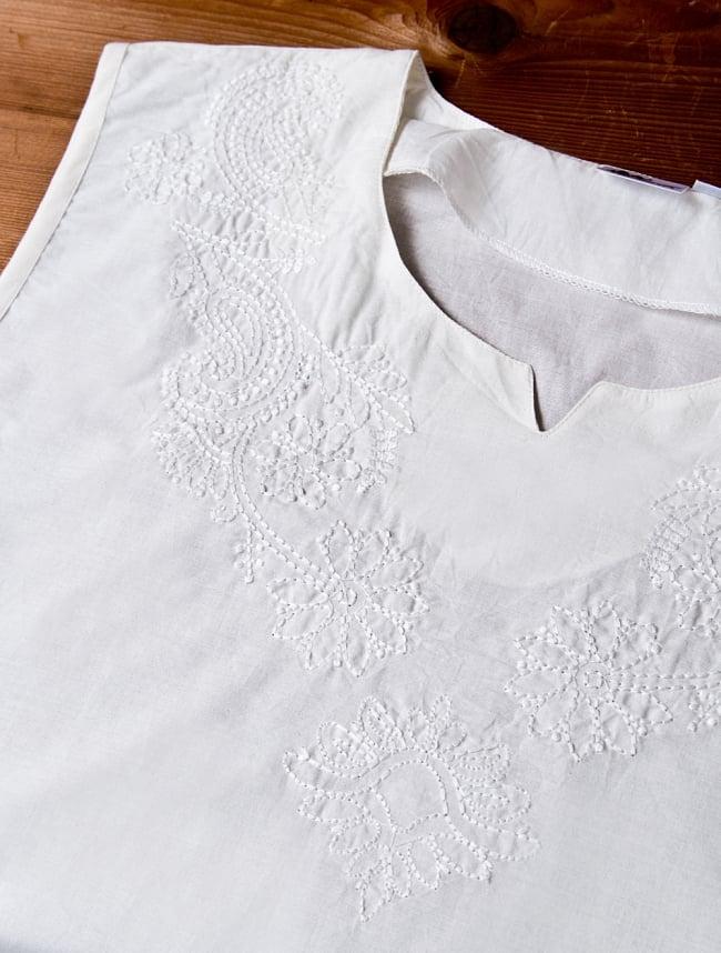サフェード刺繍シンプルホワイト ノースリーブチュニック 5 - 手間を掛けた刺繍です