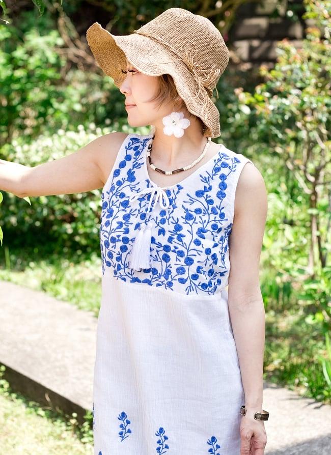 ガーゼ生地の更紗刺繍ノースリーブクルティ タッセル付き 9 - 【刺繍の色 ブルー】はこちら