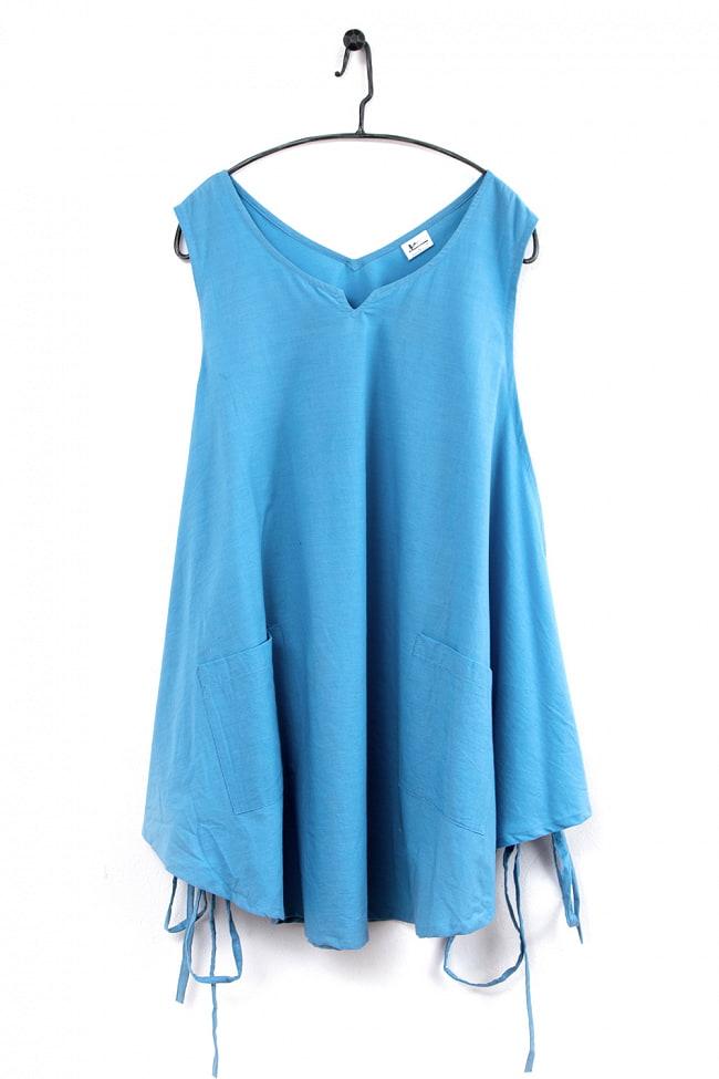 インド綿のシンプルエプロンワンピース 7 - 2:ライトブルー