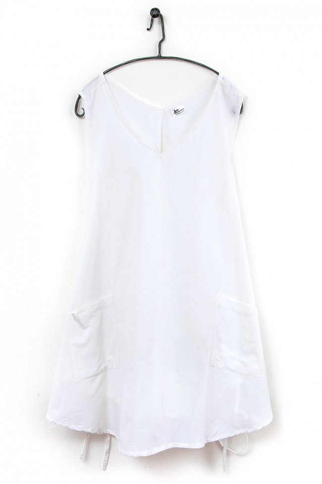 インド綿のシンプルエプロンワンピース 8 - 3:ホワイト