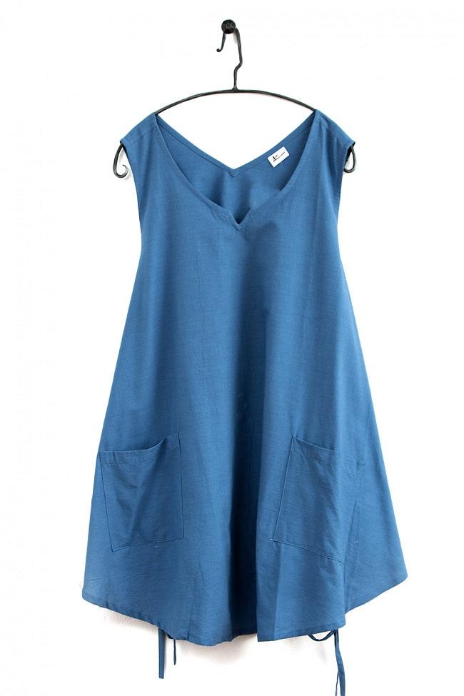 インド綿のシンプルエプロンワンピース 9 - 4:ブルー